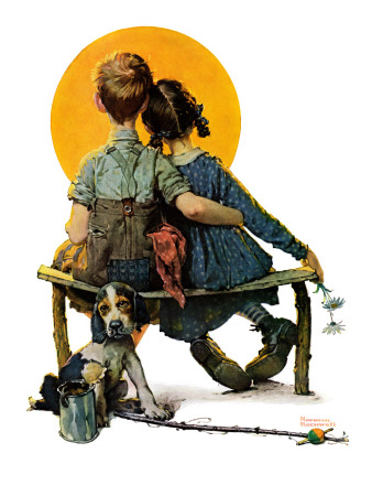 """Little Spooners"" or ""Sunset"", April 24,1926 Giclee Print by Norman Rockwell"