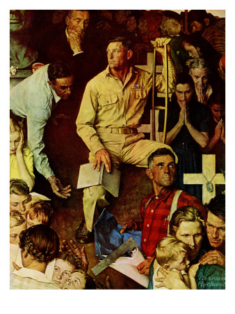 """The Long Shadow of Lincoln"", February 10,1945 Giclee Print by Norman Rockwell"
