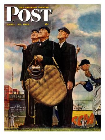 """Bottom of the Sixth""  (Three Umpires) Saturday Evening Post Cover, April 23,1949 ジクレープリント : ノーマン・ロックウェル"