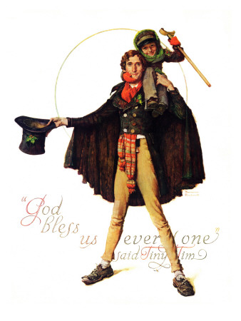 """""""Tiny Tim"""" or """"God Bless Us Everyone"""", December 15,1934 Giclee Print by Norman Rockwell"""