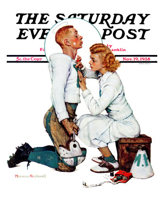 """Letter Sweater"" (boy & girl) Saturday Evening Post Cover, November 19,1938 Giclee Print by Norman Rockwell"