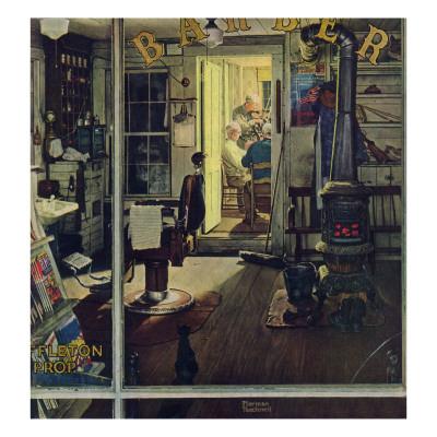 """Shuffleton's Barbershop"", April 29,1950 Giclee Print by Norman Rockwell"