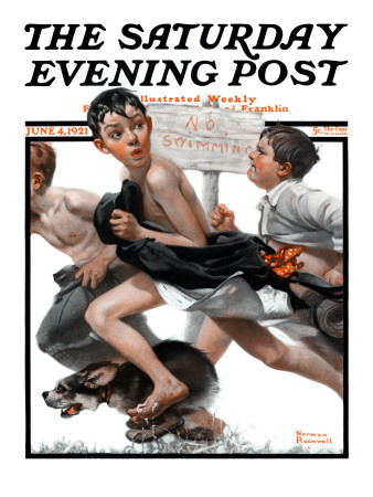 """No Swimming"" Saturday Evening Post Cover, June 4,1921 Giclee Print by Norman Rockwell"
