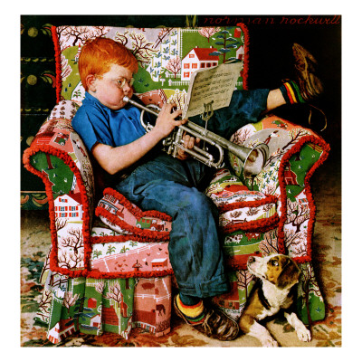 """Trumpeter"", November 18,1950 Giclee Print by Norman Rockwell"
