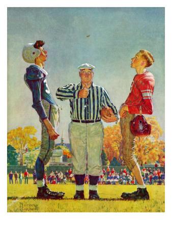 """Coin Toss"", October 21,1950 Gicléetryck av Norman Rockwell"