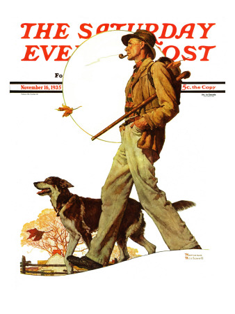 """""""Autumn Stroll"""" Saturday Evening Post Cover, November 16,1935 Giclee Print by Norman Rockwell"""