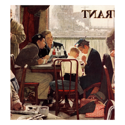 """""""Saying Grace"""", November 24,1951 Giclee Print by Norman Rockwell"""