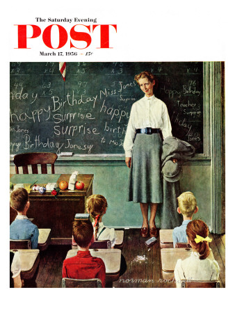 """Happy Birthday, Miss Jones"" Saturday Evening Post Cover, March 17,1956 Giclee Print by Norman Rockwell"