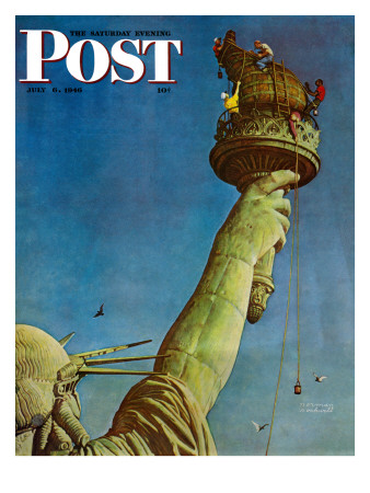 """""""Working on the Statue of Liberty"""" Saturday Evening Post Cover, July 6,1946 Giclee Print by Norman Rockwell"""