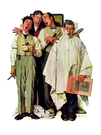 """Barbershop Quartet"", September 26,1936 Giclee Print by Norman Rockwell"