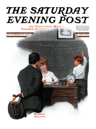 """Knowledge is Power"" Saturday Evening Post Cover, October 27,1917 Giclee Print by Norman Rockwell"