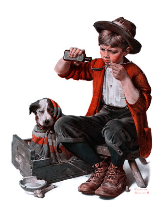 """Sick Puppy"", March 10,1923 Giclee Print by Norman Rockwell"