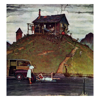 """Changing a Flat"", August 3,1946 Giclee Print by Norman Rockwell"