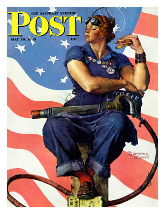 """""""Rosie the Riveter"""" Saturday Evening Post Cover, May 29,1943 ジクレープリント : ノーマン・ロックウェル"""