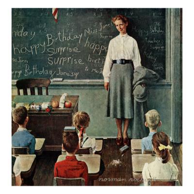 """""""Happy Birthday, Miss Jones"""", March 17,1956 ジクレープリント : ノーマン・ロックウェル"""