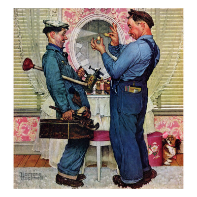 """Plumbers"", June 2,1951 Giclee Print by Norman Rockwell"
