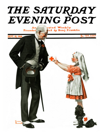"""""""Giving to Red Cross"""" Saturday Evening Post Cover, September 21,1918 Giclee Print by Norman Rockwell"""