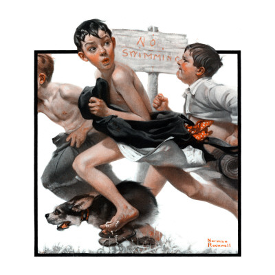 """No Swimming"", June 4,1921 Giclee Print by Norman Rockwell"