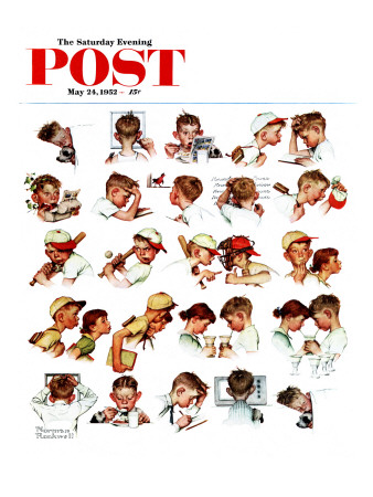 """""""Day in the Life of a Boy"""" Saturday Evening Post Cover, May 24,1952 Giclee Print by Norman Rockwell"""