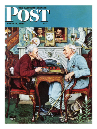 """""""April Fool, 1943"""" Saturday Evening Post Cover, April 3,1943 Giclee Print by Norman Rockwell"""