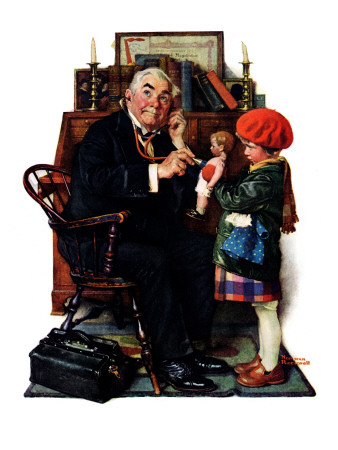 """""""Doctor and the Doll"""", March 9,1929 ジクレープリント : ノーマン・ロックウェル"""