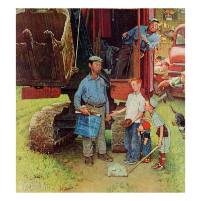 """Construction Crew"", August 21,1954 Giclee Print by Norman Rockwell"
