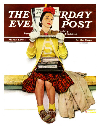 """""""Cover Girl"""" Saturday Evening Post Cover, March 1,1941 Giclee Print by Norman Rockwell"""
