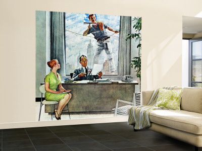 """""""Window Washer"""" Saturday Evening Post Cover, September 17,1960 Wall Mural – Large by Norman Rockwell"""