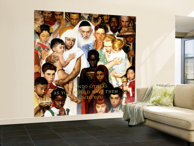 """""""Golden Rule"""" (Do unto others) Saturday Evening Post Cover, April 1,1961 Wall Mural – Large by Norman Rockwell"""