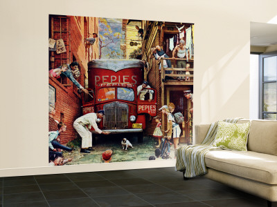 """Road Block"" Saturday Evening Post Cover, July 9,1949 Wall Mural – Large by Norman Rockwell"
