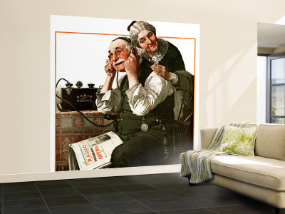 """Wonders of Radio"" or ""Listen, Ma!"" Saturday Evening Post Cover, May 20,1922 Wall Mural – Large by Norman Rockwell"