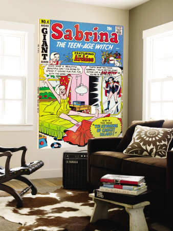 Archie Comics Retro: Sabrina the Teen-age Witch Comic Book Cover #4 featuring The Archies (Aged) Reproduction murale géante