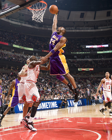 LA Lakers vs Chicago Bulls - Kobe Bryant Dunking against Luol Deng 2010-2011 NBA season - sports basketball photo poster by Andrew Bernstein
