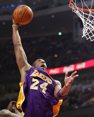 LA Lakers vs Chicago Bulls - Kobe Bryant dunking - sports basketball photo poster by Jonathan