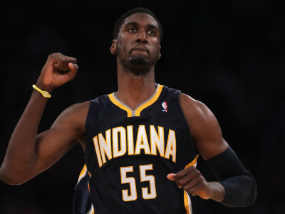 INDIANA PACERS v Los Angeles Lakers: Roy Hibbert Photographic Print by ...