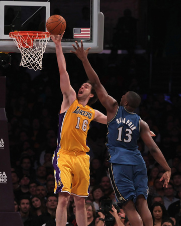 Washington Wizards v Los Angeles Lakers: Pau Gasol and Kevin Seraphin Photo by  Jeff
