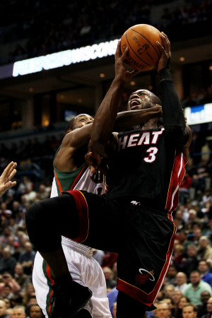 Miami Heat v Milwaukee Bucks: Dwyane Wade and John Salmons Photographic Print
