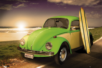 VW BEETLE - With Surfboard Plakat