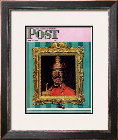 """No Smoking"" Saturday Evening Post Cover, May 27,1944 Framed Giclee Print by Norman Rockwell"