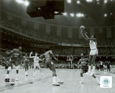 Michael Jordan shoots winning basket in UNC 1982 NCAA Finals against Georgetown Photo
