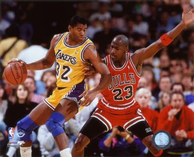 NBA Michael Jordan & Magic Johnson 1990 Action Foto