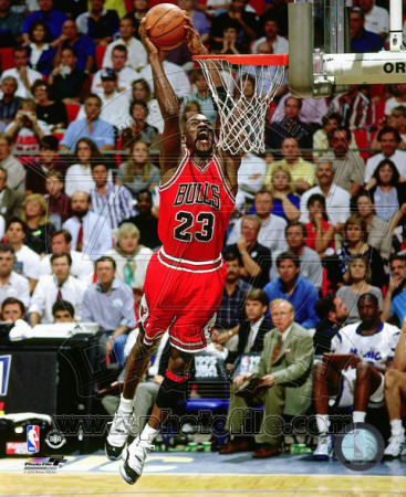 Michael Jordan dunking in a basketball game, dunk photo poster of 1994-1995 season