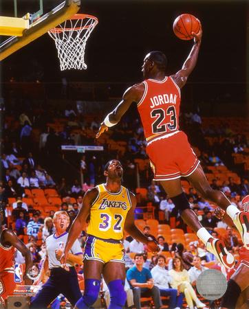 Michael Jordan slam dunk against the Lakers, dunk photo poster