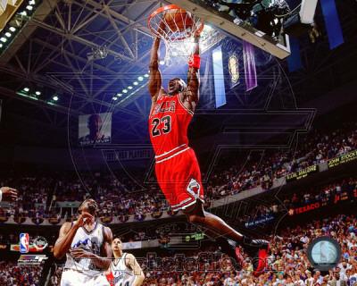 Michael Jordan triumphant slam dunk photo poster of 1996-1997 NBA season