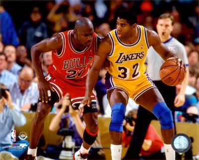 Michael Jordan & Magic Johnson 1990 Action Photo