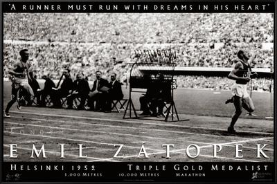 Emil Zatopek: 1952 Triple Gold Medalist Framed Canvas Print