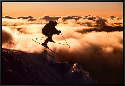 Challenge: Skier in Clouds Framed Canvas Print