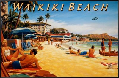 Waikiki Beach Framed Canvas Print by Kerne Erickson