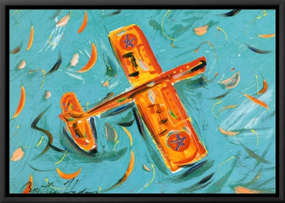 Airplane Framed Canvas Print by Cynthia Hudson