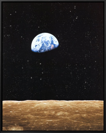 Earth Rise from Moon Framed Canvas Print